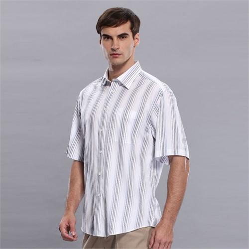 圣大保罗 正品男装 短袖衬衫 商务休闲 纯棉 条纹绅士|ps8wh134