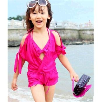 可爱宝宝游泳衣比基尼女童 泳装韩国女童儿童泳衣 _桃红色,l-100cm