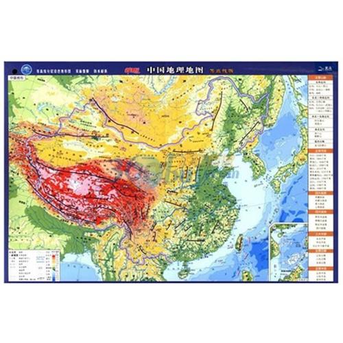 中国地理地图 等高线分层设色地形图