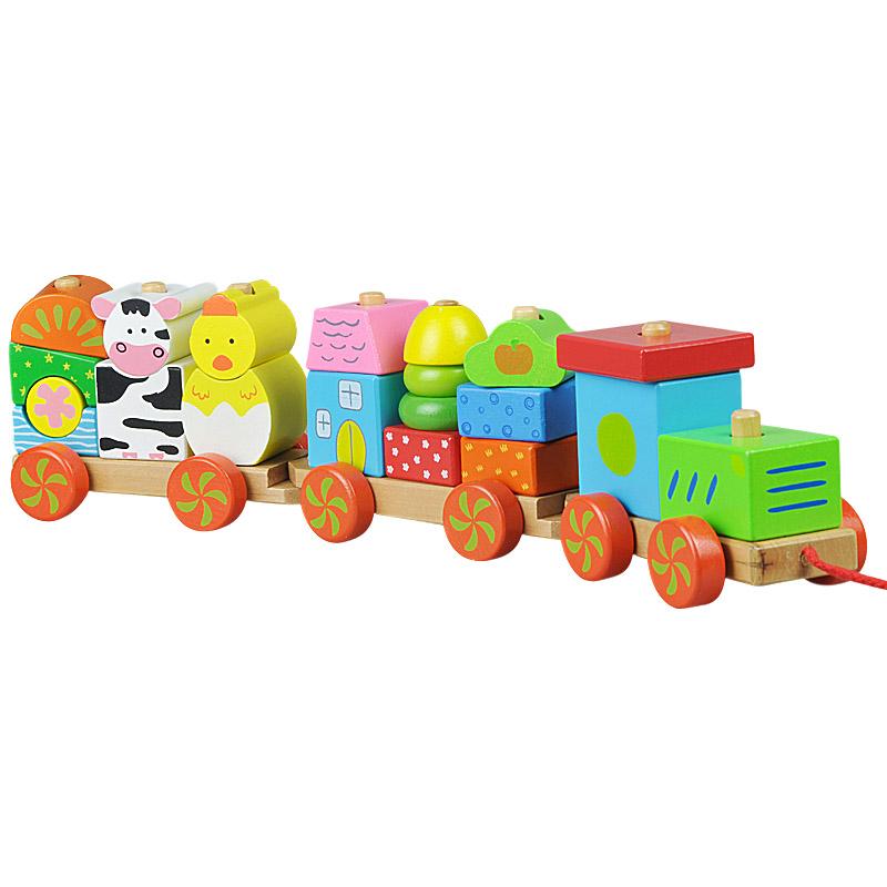 木制玩具 拖拉小车