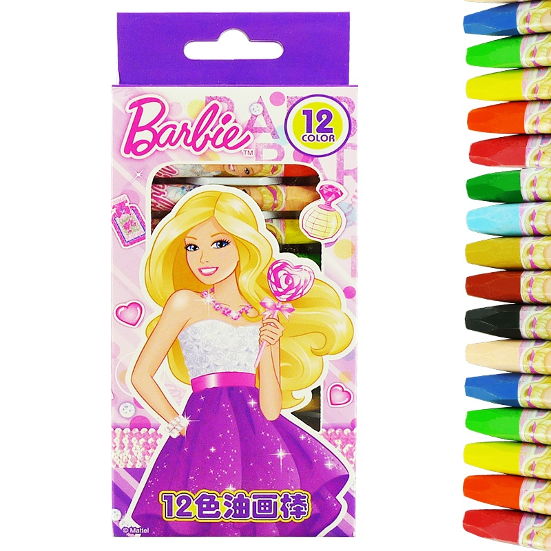 芭比儿童彩色画笔幼儿卡通绘画工具/油画棒