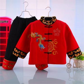 宝宝唐装儿童民族风中式服装冬装童礼服套装男童套装