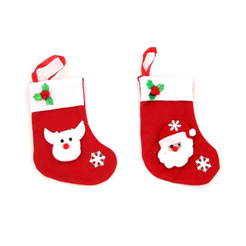 圣诞袜子礼物袋子 圣诞节装饰礼品 绿叶糖果袜子