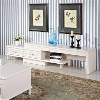 小憨豆新韩式田园客厅电视柜 可伸缩烤漆视听柜实木桌脚地柜子 板式