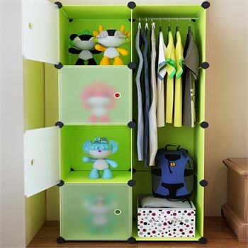 家里人組合式創意簡易兒童簡易衣柜 宜家居家自由diy卡通收納柜_果