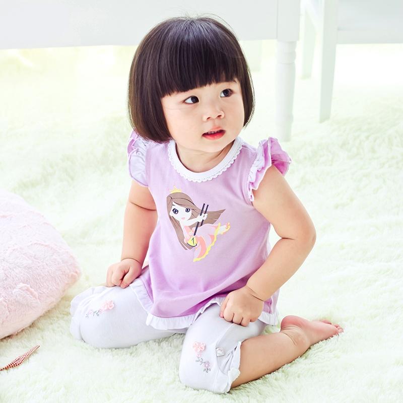 恩恩熊夏季女婴儿宝宝童装可爱卡通图案儿童荷叶衣摆短袖t恤10062