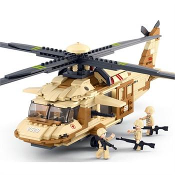 儿童玩具积木 黑鹰直升运输飞机 439片小颗粒拼插积木 乐高式商品图片