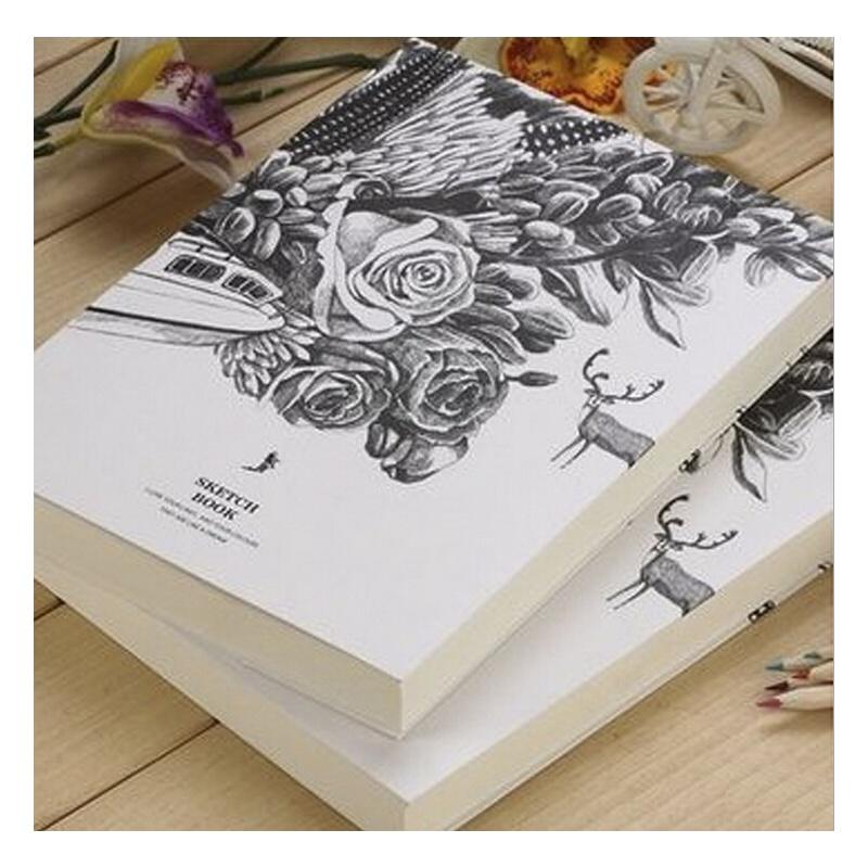 超厚笔记本子 黑白创意空白素描本记事本速写手绘画大日记本