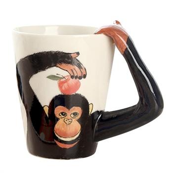 homee (趣玩)合米 3d立体动物杯纯手绘陶瓷杯子牛奶马克杯猩猩