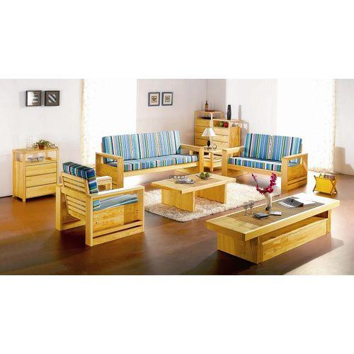 玛格丽北欧松木家具沙发3人