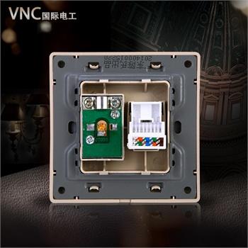 vnc 开关插座面板 有线电视电脑网线插座 辉煌a3-019丝银不锈钢(银色