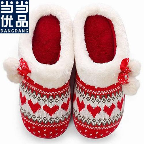 毛线编织毛绒球室内家居鞋棉拖鞋