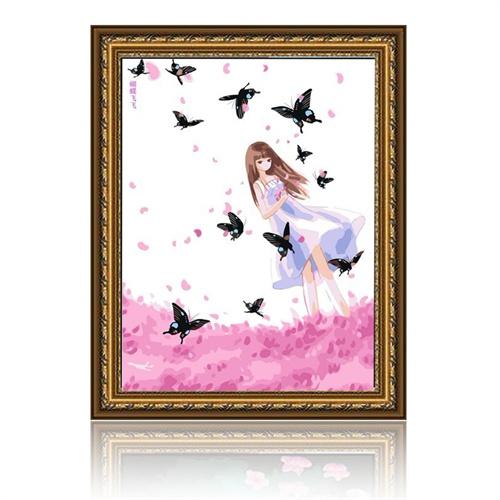 舞动色彩 蝴蝶飞飞 diy数字油画风景人物彩绘装饰画 w0235