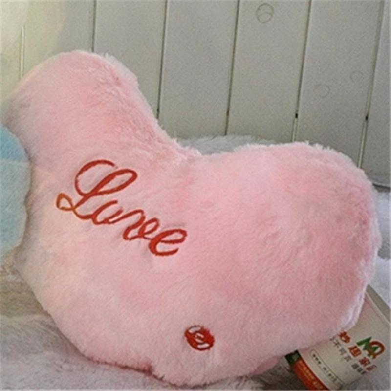 七彩发光音乐抱枕 闪光幸运星抱枕 可爱五角星靠垫_粉色爱心,发光抱枕