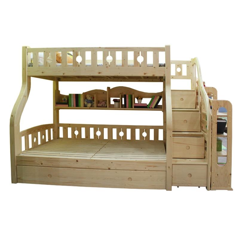 糖果屋童话城堡北欧全进口芬兰松全实木儿童家具高低床 木梯 2个储物
