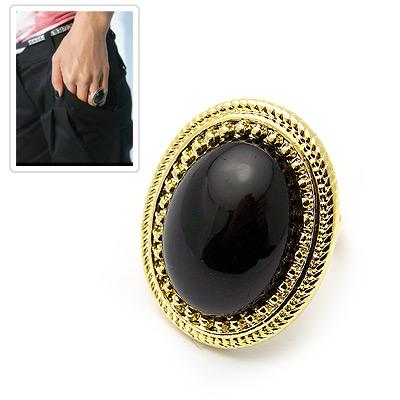 韩国momo 李孝利最爱复古风椭圆形黑宝石戒指图片图片
