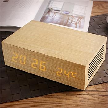 玩者创意多功能木质床头充电闹钟音箱-m9