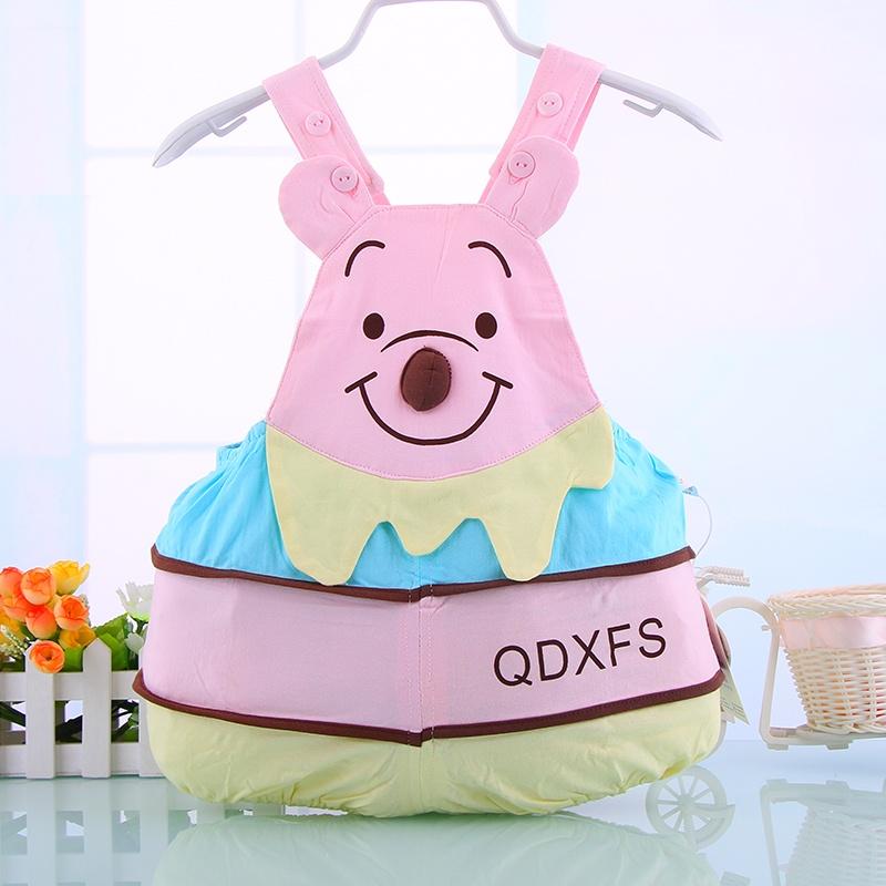 超可爱宝宝小熊型哈衣 夏装新生儿爬服 婴儿衣服连体衣纯棉衣服_粉色