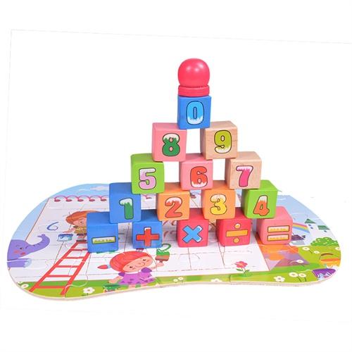 100粒儿童木制积木玩具 大块拼图桶装