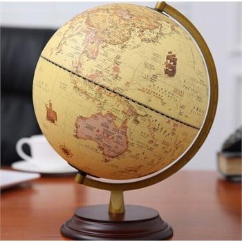 地球仪 32cm大号教学中英文仿古复古木底座地球仪欧式