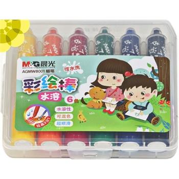 好吉森鹤晨光6色水溶顺滑彩绘棒 蜡笔油画棒水彩棒儿童/学生绘画用品