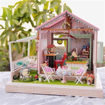 diy小屋创意手工制作房子拼装建筑模型大型别墅生日