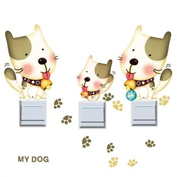 贝贝梦 韩国进口儿童房装饰夜光贴纸 卡通贴画 可爱小狗贴纸 可移除