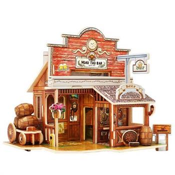 体拼图建筑模型 木制房子