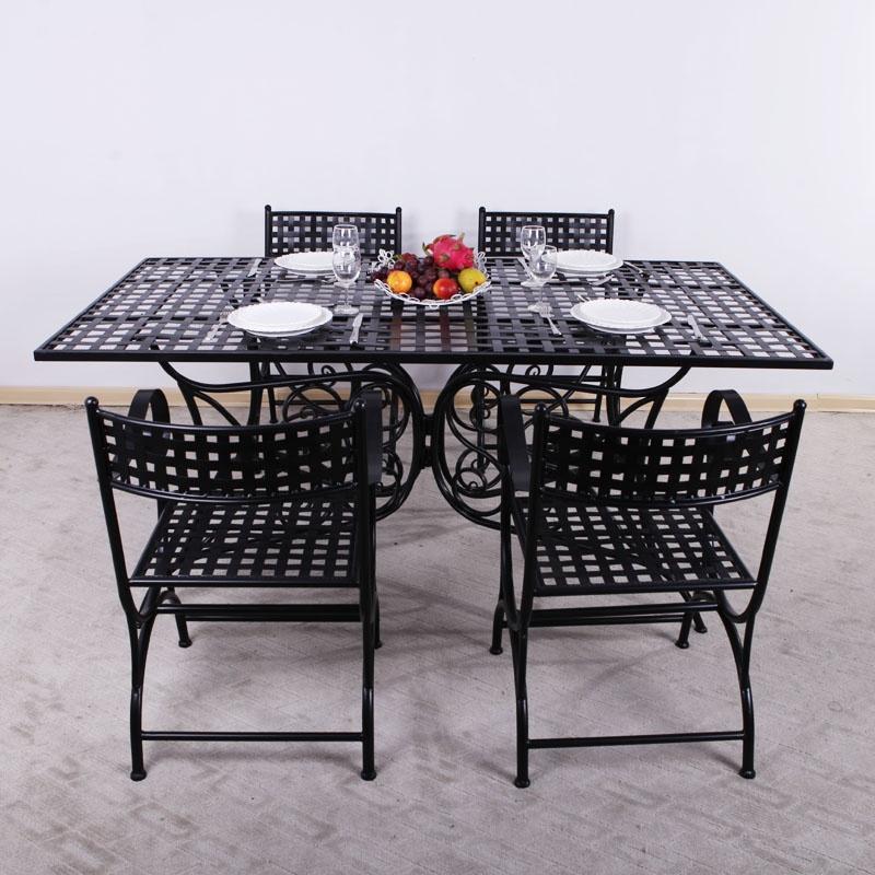 果漫欧式铁艺桌椅套装户外阳台庭院咖啡桌椅多功能桌