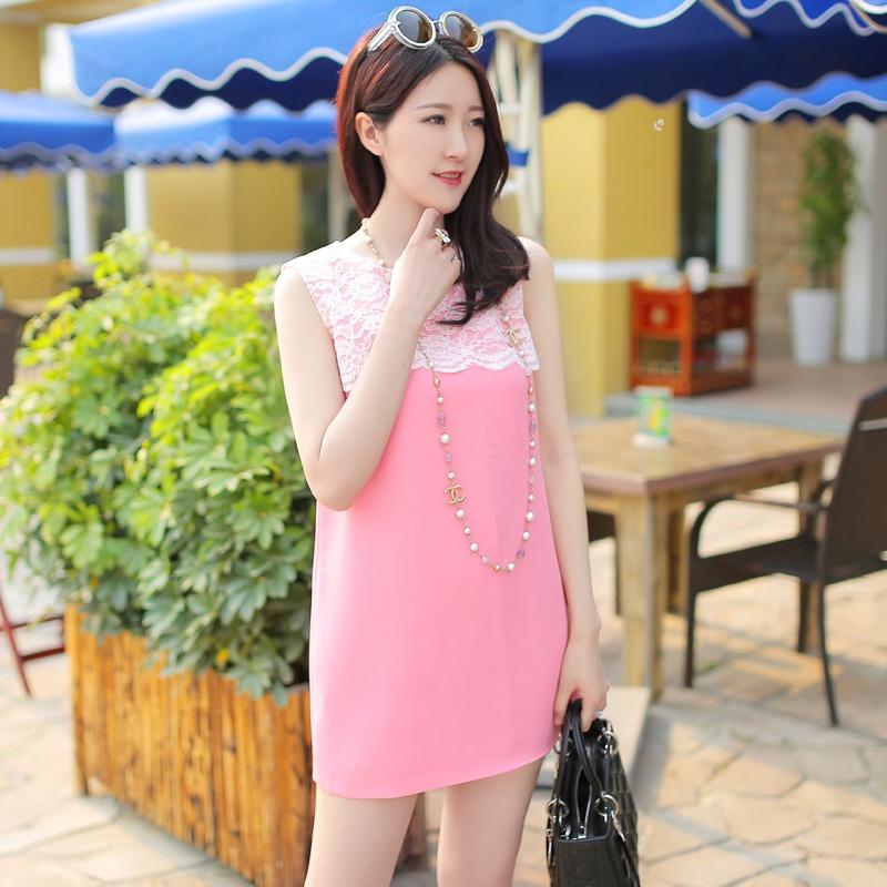 粉色小香蕾丝花边连衣裙价格