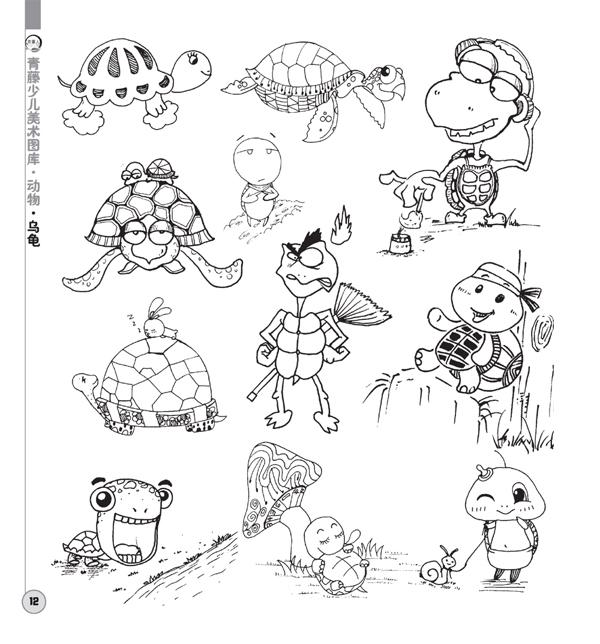 创意线描黑白画动物