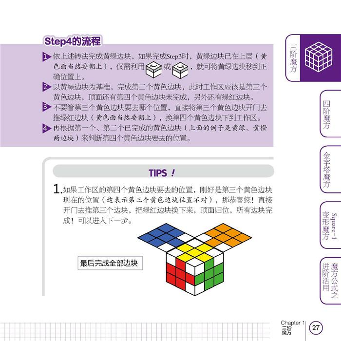 《魔方高手制霸技》是从台湾引进的一本魔方手艺书,系统介绍了三阶、四阶、金字塔、Square-1变形魔方的转法,通过步骤分解、细节示范、原理解说、特殊情况处理等环节让读者学会并理解各式魔方的独特技法,并能在此基础上举一反三,而不是仅仅停留在对公式的生搬硬套上。本书介绍了与传统魔方解法不同的8355转法,不需要记忆很多公式就可以完成魔方,不失为一个破解魔方的好办法。