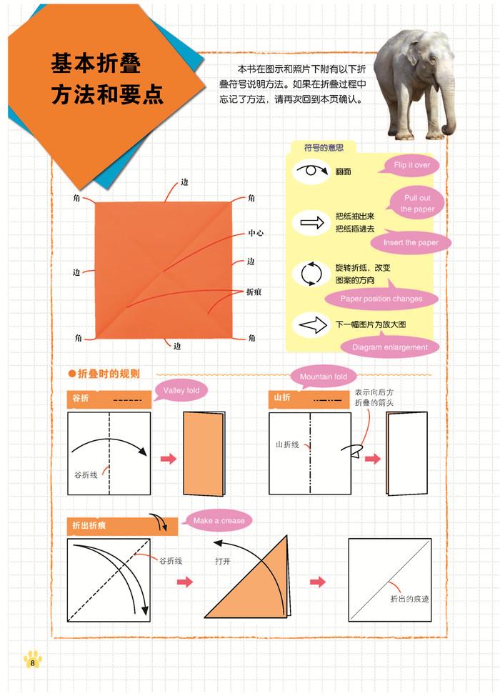 立体动物折纸大象平面图