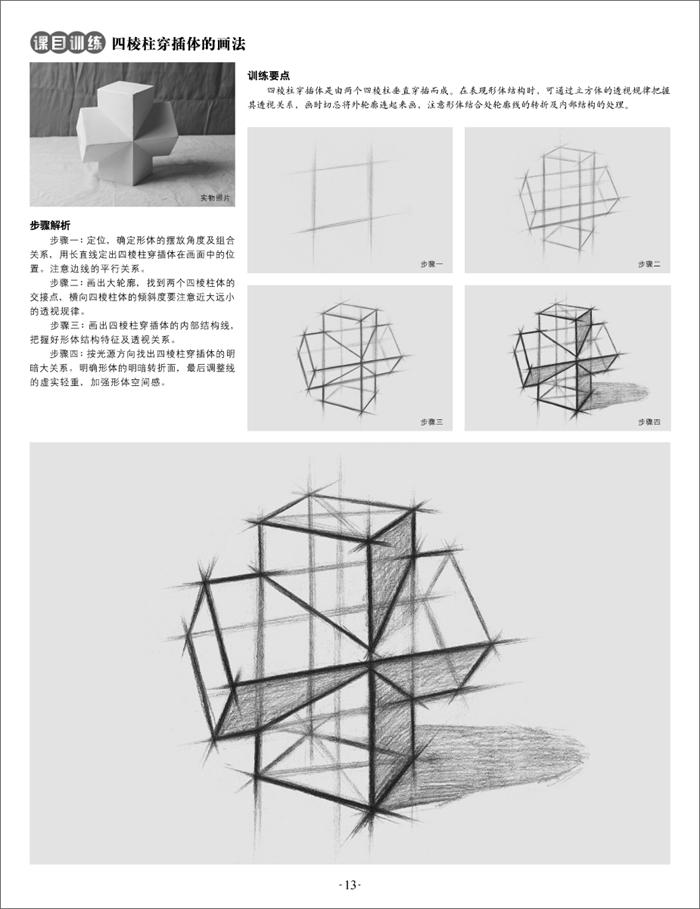 循序渐进地介绍了有关石膏几何体结构的知识,同时还详细介绍了素描的