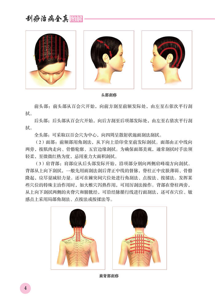 目 录 第一部分刮痧基础知识 一、刮痧临床作用 / 2 二、刮痧用具 / 2 三、刮痧操作方法 / 2 四、刮拭顺序、时限及方法 / 3 五、刮痧后的反应 / 6 第二部分刮痧治疗常见病 感冒 / 8 慢性支气管炎 / 10 失眠 / 12 抑郁症 / 14 原发性高血压 / 16 中风后遗症 / 18 心脏神经官能症 / 20 冠心病 / 21 膈肌痉挛(打嗝) / 23 糖尿病 / 24 高脂血症 / 26 慢性胃炎 / 28 慢性胆囊炎 / 30 习惯性便秘 / 32 颈椎病 / 34 肩周炎 /
