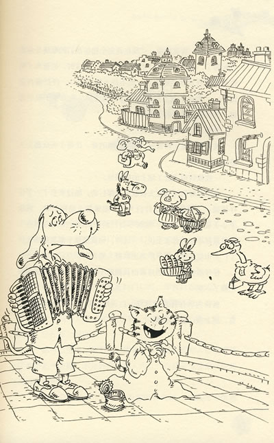 古城门楼手绘插图