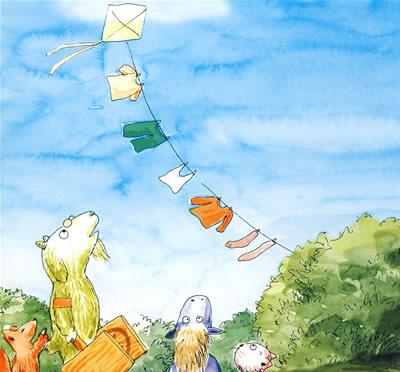 宝宝看图讲故事:放风筝比赛