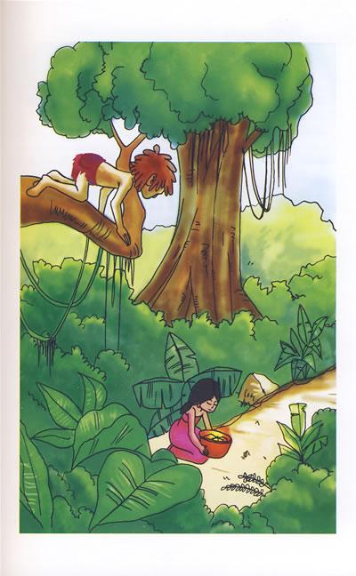 森林手绘鹿彩铅插画